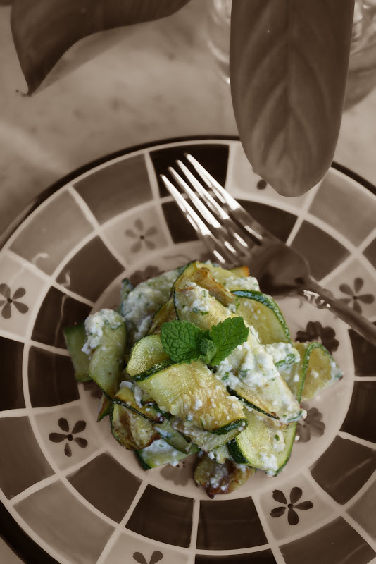 Sauteed Zucchini Ribbons with Feta Dressing