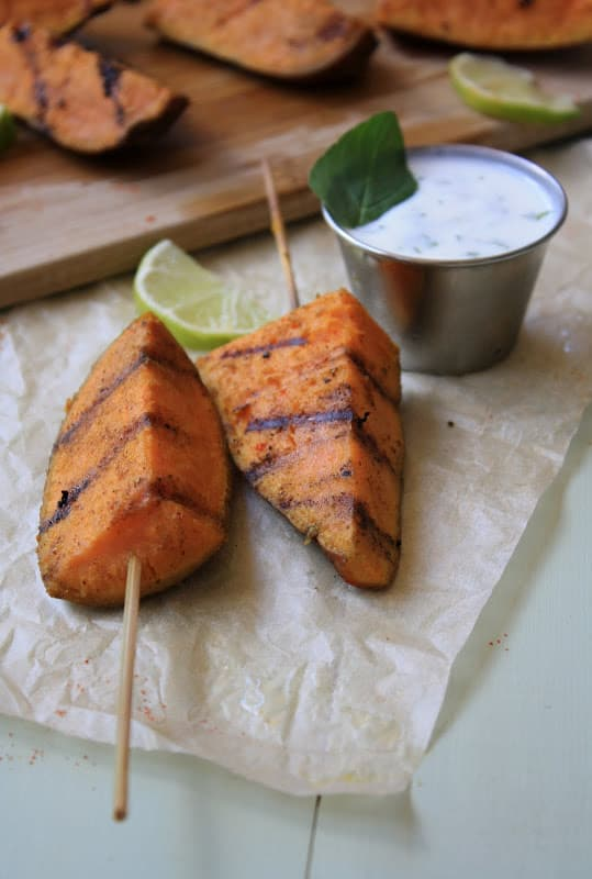 Curried Sweet Potatoes on a Stick