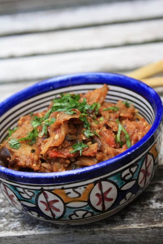 Moroccan Roasted Eggplant Salad: Zaalook