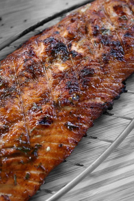 Grilled Salmon with Pomegranate Molasses and Chives Recipe