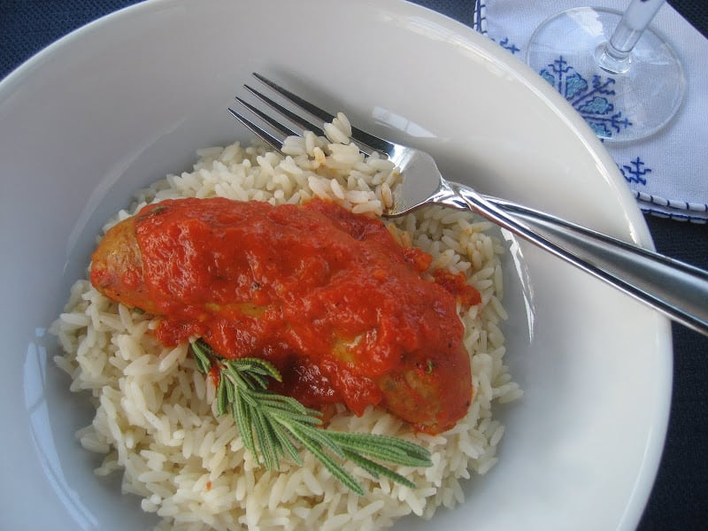 Chicken Sausages in Triple Red Pepper Sauce