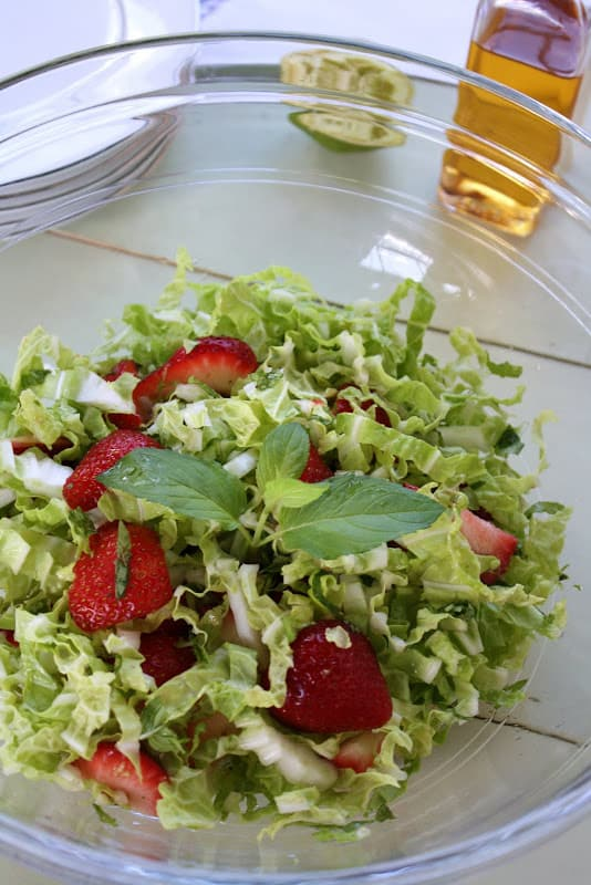 Napa Cabbage, Strawberry and Mint Salad