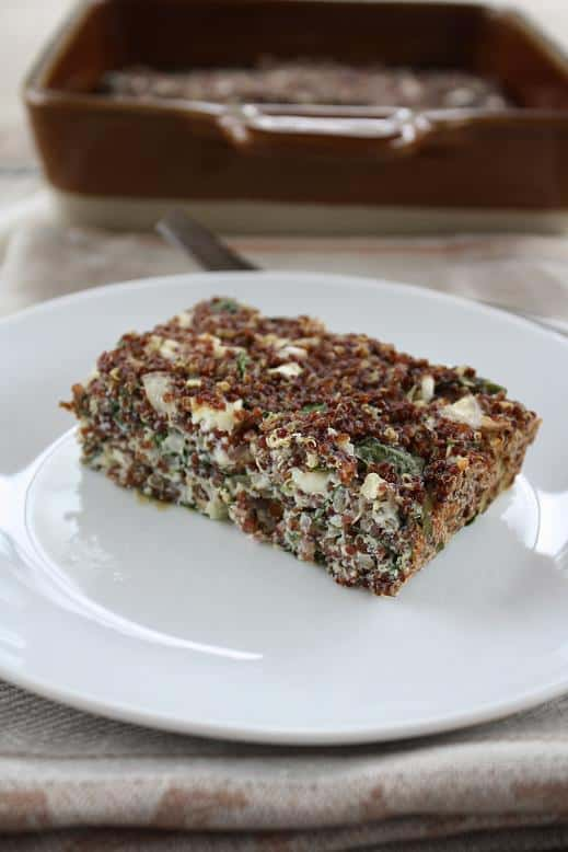 Baked Red Quinoa with Chard Feta