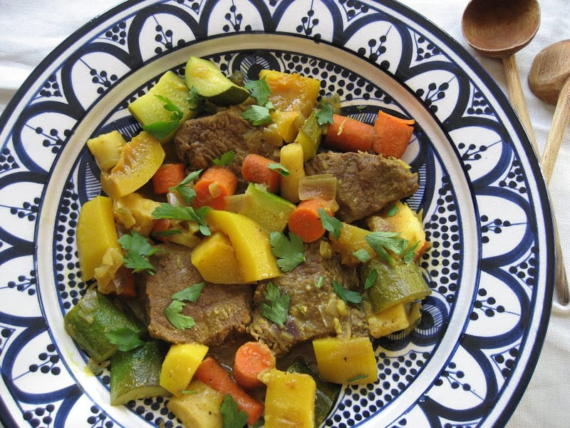 Beef Tagine with Fall Vegetables and Harissa