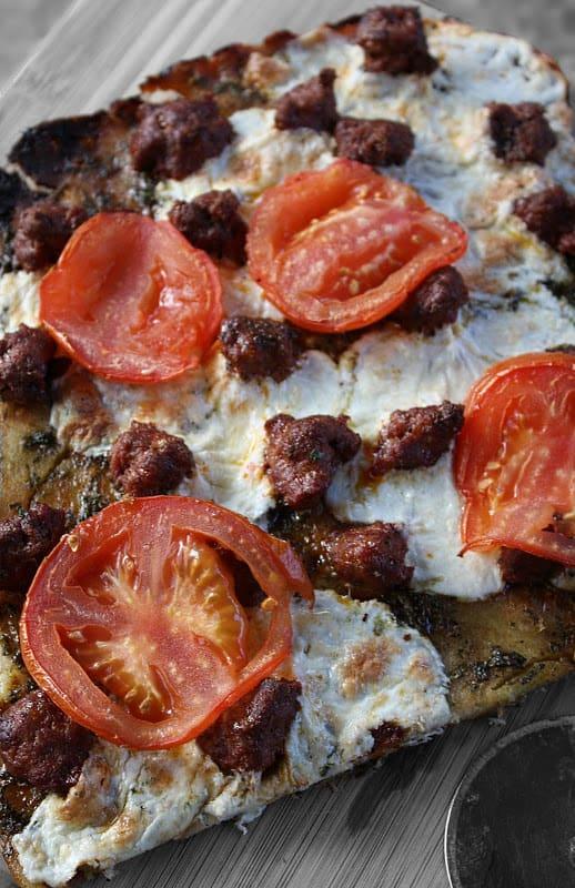 Gluten Free Moroccan Flatbread with Parsley Pesto and Merguez