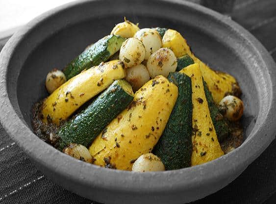 Vegetarian Tagine with Zucchini Squash and Pearl Onions