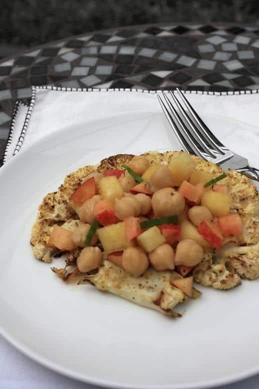 Cauliflower Steaks + Chickpea and Fruit Salad
