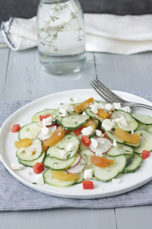 Cucumber Salad with Radishes Apricots and Feta